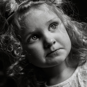 Phoebe by Tracey Dobbs - Babies & Children Child Portraits ( girl, low key, black and white, beautiful, children, portrait, eyes )