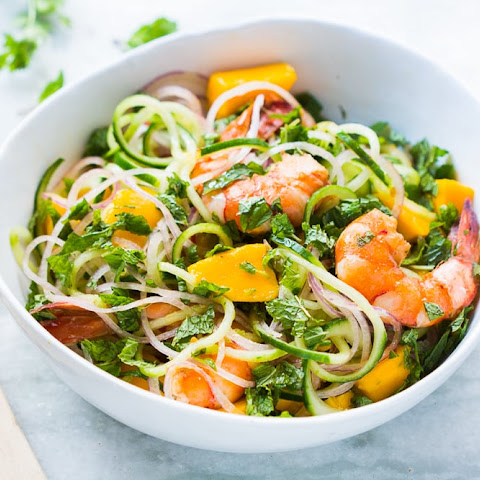 Cucumber Noodle Prawn and Mango Salad (Gluten Free)