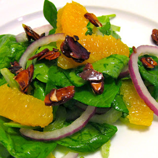 Spinach Salad with Orange and Caramel Almond Crunch