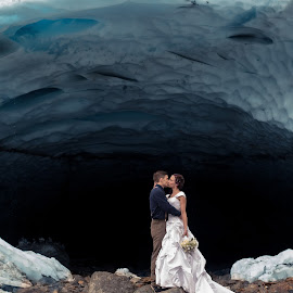 I would brave the world for you by Kate Gansneder - Wedding Bride & Groom ( winter, seattle, ice, wedding, caves, northwest, couple, elopement, bride, groom )