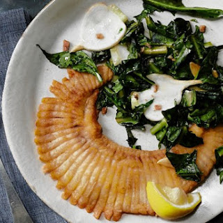 Crispy Skate with Puntarelle and Baby Turnips