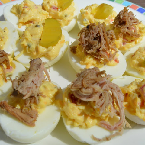 Pulled Pork Pimento Cheese Deviled Eggs