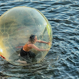 Walking on water by Radu Eftimie - City,  Street & Park  Amusement Parks ( vltava, walking bubble, prague )