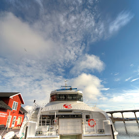 Ferry HDR by Benny Høynes - Transportation Boats ( clouds, hdr, ferry, sea, transportation, boat, norway )