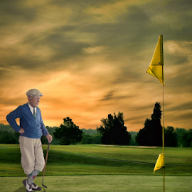 This Close by Lawrence Ferreira - Digital Art People ( agony, defeat, emotional, digital art, art, mood, artistic, golf, artistic objects, manipulation, golden hour, photoshop )