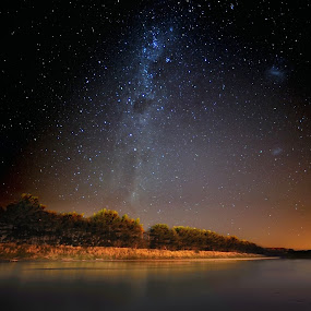 Milky Way over Manawatu River by Nadly Aizat Nudri - Landscapes Starscapes ( clusters, constellations, manawatu river, waterscape, cloudless, no people, stars, orion, open space, new zealand, milky way )