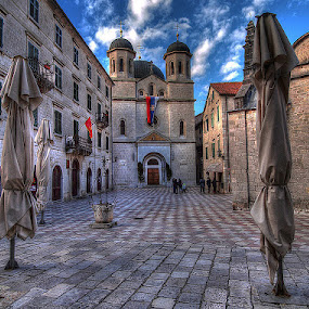 by Branislav Rupar - City,  Street & Park  Historic Districts ( montenegro, prayer, flag, church, stone, square, city )