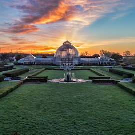 Earth Day Sunrise by Pat Eisenberger - Buildings & Architecture Public & Historical ( belle isle conservatory, michigan, conservatory, belle isle, sunrise, earth day, detroit )