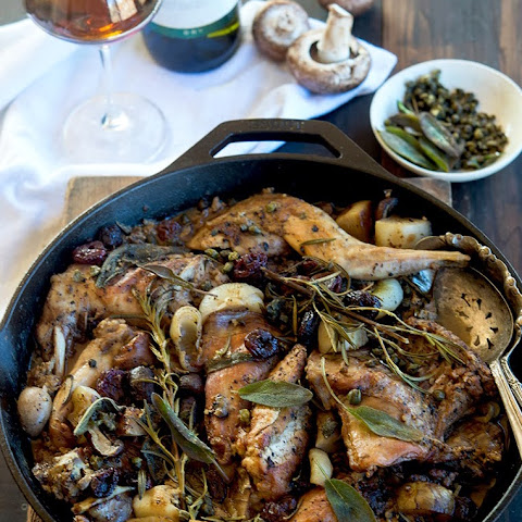 Marsala Braised Rabbit with Sage, Rosemary, and Tart Cherries
