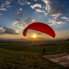 Paraglider Holding the Sun by Ariseanu Genu - Sports & Fitness Other Sports