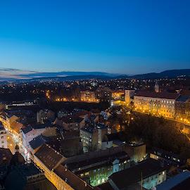 City Dusk by Dubravka Krickic - City,  Street & Park  Historic Districts ( vista, zagreb eye, croatia, zagreb, dusk )