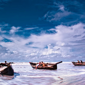 Trio by Fotosutra - a PRASANTA SINGHA photography - Landscapes Waterscapes ( fishermen, sea, seascape, travel, landscape, boat )