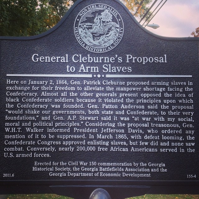 General Cleburne's Proposal to Arm Slaves Here on January 2, 1864, Confederate Gen. Patrick Cleburne proposed arming slaves in exchange for their freedom to alleviate a desperate manpower shortage ...
