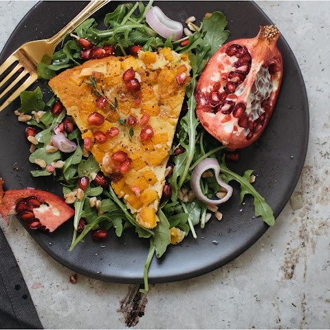 Butternut Squash Farinata With Arugula Salad & Pomegranate Vinaigrette