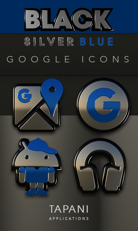 Black silver blue Icon Pack 3D Screenshot 2