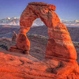 Sunset and Moonrise by Becca McKinnon - Landscapes Caves & Formations ( moab, mountains, moon, arches national park, utah, sunset, arches, southwest, red rock, manti la sal, arch delicate arch )