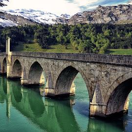 Stone bridge by Mirko Ilić - Buildings & Architecture Bridges & Suspended Structures ( nature, green, stone, bridge, green river )