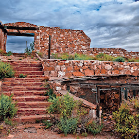 Stairway to Ruin by Steven Love - Buildings & Architecture Decaying & Abandoned ( stairs, stairway, trading post, two guns, canyon diablo, arizona, cloudy, sandstone, stone, route 66, ruins, rock, abandoned )