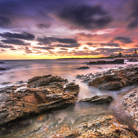 Middleton sunset by Nicole Rix - Landscapes Sunsets & Sunrises ( clouds, houses, tree, sunset, long exposure, rock )