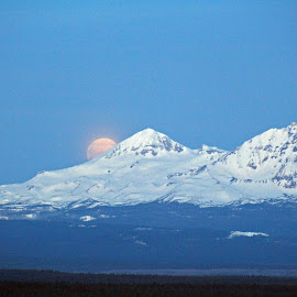 Moon Set by Moe Cook - Landscapes Mountains & Hills ( oregon, moonset, mountains, snow, snowy volcano, moonlight )
