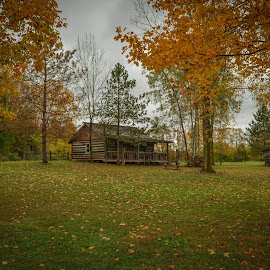 Vintage Cabin by Robert Coffey - Buildings & Architecture Public & Historical ( michigan, cabin, fall, trees, log )