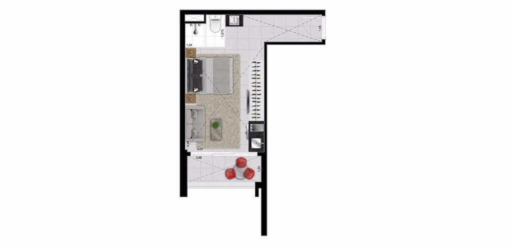 Planta Loft 29 m²