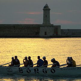 Row in the Right Direction... by Andrea Bertolla Virgili - Sports & Fitness Watersports ( tuscany, rowing, sunset, sea, livorno, italy )