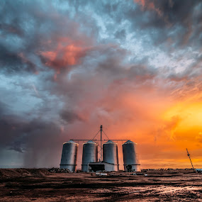 Come to Light by Jonathan Stolarski - Landscapes Sunsets & Sunrises ( farm, gilbert, wx, az, azwx, monsoon, silos, sunset, arizona, morrison bros ranch,  )