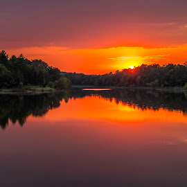 September Sunset by Jeff Lebovitz - Landscapes Sunsets & Sunrises ( water, orange, red, sunset, adams lake )