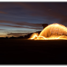 by Kev Bates - Abstract Light Painting ( light painting, wire wool, night, fire )