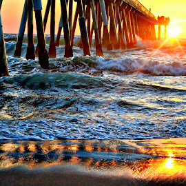 Hermosa Sunset by Brian Blood - Landscapes Sunsets & Sunrises ( sunset, pier, ocean, beach, hermosa )