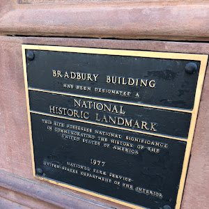 National Historic Landmark plaque for the beautiful Bradbury Building in downtown Los Angeles.