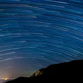 Flowing stars by Idan Presser - Landscapes Starscapes ( silhouette, stars, star trails )