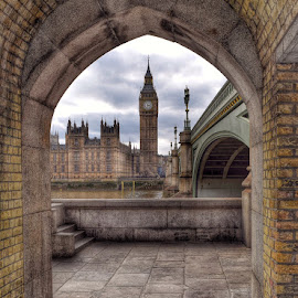 Archway To London by Jon Raffoul - Buildings & Architecture Architectural Detail ( water, landmark, london, london[hotography, westminster, bridge, archway, historic, bigben )