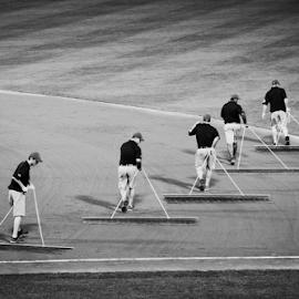 Grooming the field by Dan Allard - Sports & Fitness Baseball ( grooming, groomers, field, infield, sand, ballpark, park, sandlot, baseball, stadium,  )
