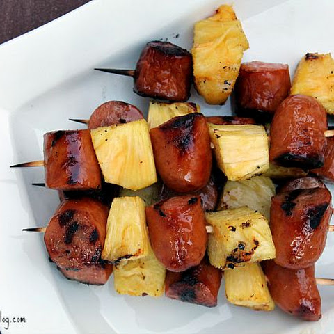 Glazed Pineapple and Sausage Skewers