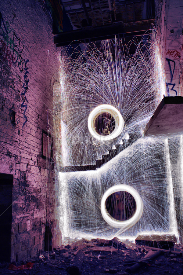 twin blaze by Damien Brearley - Abstract Fire & Fireworks ( swat photography, spinning, steel wool, steel, heat, light, fire )