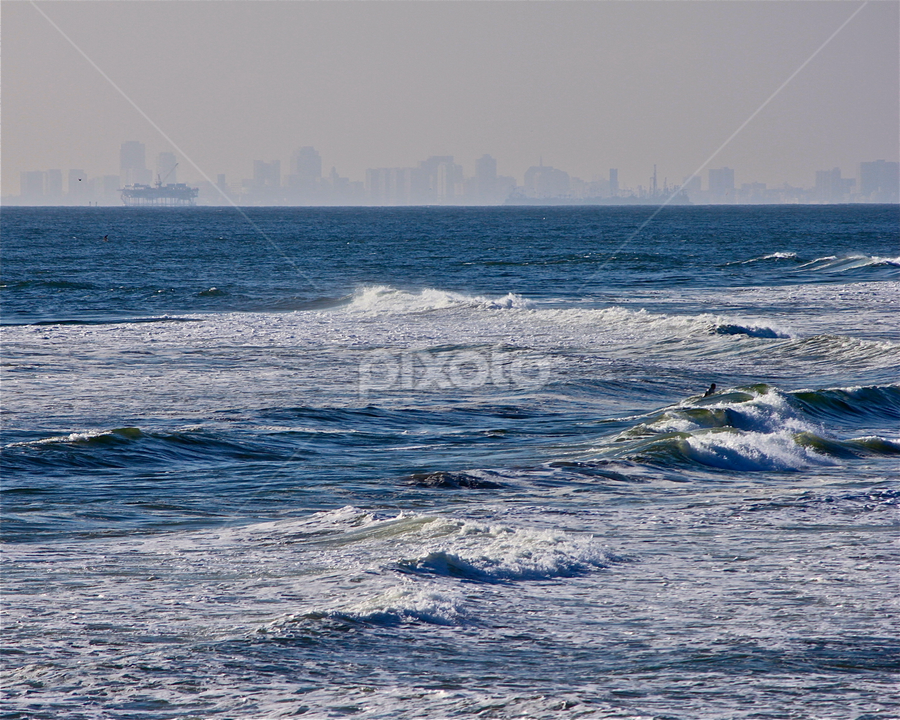 Downtown LA by David Herholz - Landscapes Waterscapes ( waves, la, pacific, ocean, surf, huntington beach )