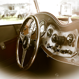 Old Car Interior by Nancy Merolle - Transportation Automobiles ( car, interior, old car, automobile, transportation, dashboard, antique )