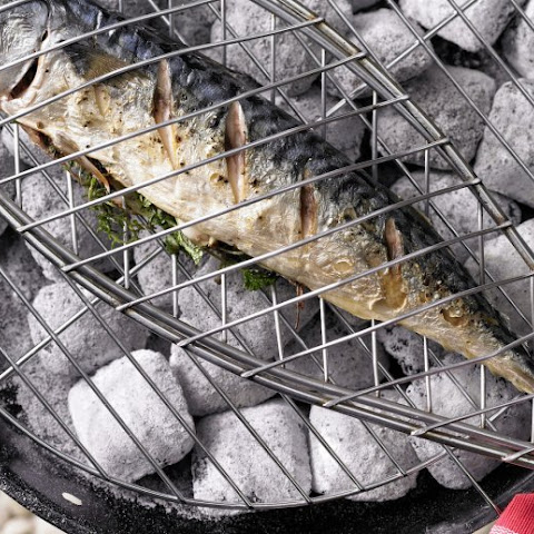 Mackerel Baked With Herbs On The Grill