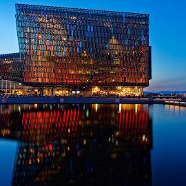 Harpa Reykjavík by Michaela Firešová - Buildings & Architecture Public & Historical ( reykjavík, lights, building, colors, sunset, harpa )
