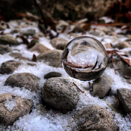 Rock climbing by Melissa Poling - Artistic Objects Glass ( abstract, lensball, floating, rocks, photography )