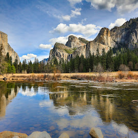 Yosemite Valley by Curt Lerner - Landscapes Mountains & Hills ( reflection, half dome, yosemite, california, el capitan, national parks, merced river )