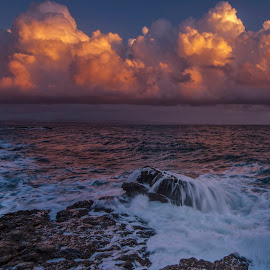 rocks and waves by Enver Karanfil - Landscapes Sunsets & Sunrises ( clouds, waves, sunset, sea, rocks )