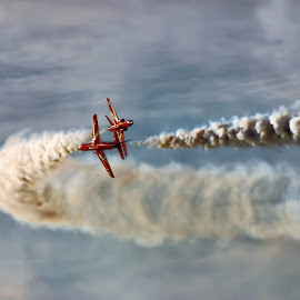 reds Edit 1  by Kelly Murdoch - Transportation Airplanes ( red arrows, uk, airplane, jets, smoke, ztam, flight, england, reds, sky, aircraft, air display, cloud, raf )