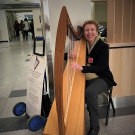 Elderly Woman Playing Harp by Kristine Nicholas - Novices Only Portraits & People ( music, harp, elder, old, therapist, woman, lady, instrument, elderly, therapy, hospital )