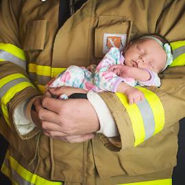 My hero by Stephanie Crank - Babies & Children Babies ( hero, fireman, baby girl, fire fighter, newborn )