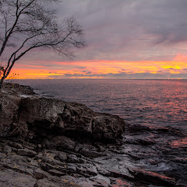 An October Sunrise on the North Shore by Gary Hanson - Landscapes Waterscapes ( sunrise, minnesota, north shore, waterscape, october )