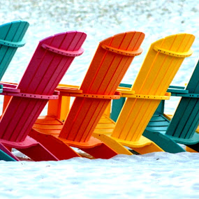 Variety At The Beach by Roxanne Dean - Artistic Objects Furniture ( sand, chairs, beach, white sand, lineup,  )