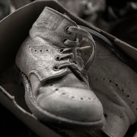 There was a time by Buffan Walter - Artistic Objects Clothing & Accessories ( shoes, old, babyshoes, forgotten, shoe, closeup, 40s, decay, abandoned, oroginalbox )